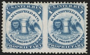 Sale Number 1173, Lot Number 2130, J.B. Kelly and Co. thru S. Mansfield and Co.S. Mansfield & Co., 1c Blue, Pink Paper, Imperforate Between (RS174ci), S. Mansfield & Co., 1c Blue, Pink Paper, Imperforate Between (RS174ci)
