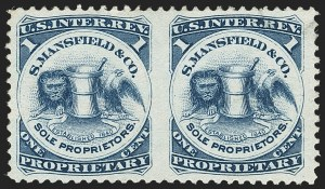 Sale Number 1173, Lot Number 2132, J.B. Kelly and Co. thru S. Mansfield and Co.S. Mansfield & Co., 1c Blue, Watermarked Paper, Horizontal Pair, Imperforate Between (RS174di), S. Mansfield & Co., 1c Blue, Watermarked Paper, Horizontal Pair, Imperforate Between (RS174di)