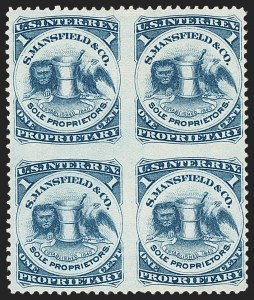Sale Number 1173, Lot Number 2133, J.B. Kelly and Co. thru S. Mansfield and Co.S. Mansfield & Co., 1c Blue, Watermarked Paper, Block of Four, Imperforate Between (RS174dj), S. Mansfield & Co., 1c Blue, Watermarked Paper, Block of Four, Imperforate Between (RS174dj)