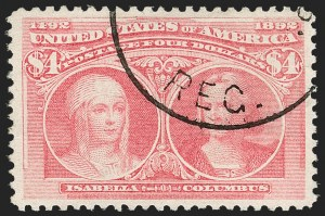 Sale Number 1174, Lot Number 101, $1.00-$5.00 1893 Columbian Issue (Scott 241-245)$4.00 Pale Aniline Rose, Columbian (244a), $4.00 Pale Aniline Rose, Columbian (244a)