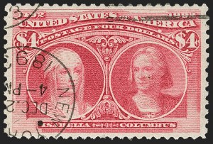 Sale Number 1174, Lot Number 102, $1.00-$5.00 1893 Columbian Issue (Scott 241-245)$4.00 Columbian (244), $4.00 Columbian (244)