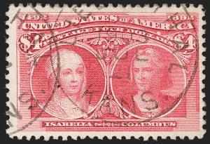 Sale Number 1174, Lot Number 103, $1.00-$5.00 1893 Columbian Issue (Scott 241-245)$4.00 Columbian (244), $4.00 Columbian (244)