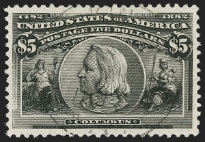 Sale Number 1174, Lot Number 106, $1.00-$5.00 1893 Columbian Issue (Scott 241-245)$5.00 Columbian (245), $5.00 Columbian (245)
