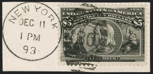 Sale Number 1174, Lot Number 107, $1.00-$5.00 1893 Columbian Issue (Scott 241-245)$5.00 Columbian (245), $5.00 Columbian (245)