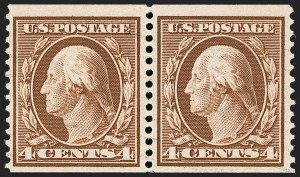 Sale Number 1174, Lot Number 157, 1908-12 Washington-Franklin Issues (Scott 331-396)4c Orange Brown, Coil (354), 4c Orange Brown, Coil (354)