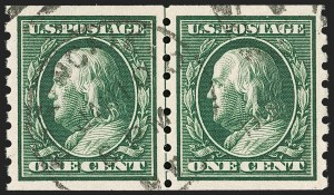 Sale Number 1174, Lot Number 168, 1908-12 Washington-Franklin Issues (Scott 331-396)1c Green, Coil (392), 1c Green, Coil (392)