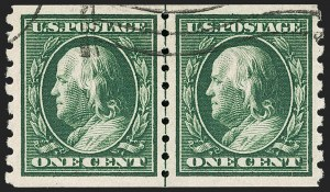 Sale Number 1174, Lot Number 169, 1908-12 Washington-Franklin Issues (Scott 331-396)1c Green, Coil (392), 1c Green, Coil (392)