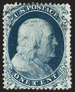 Sale Number 1174, Lot Number 17, 1857-60 Issue (Scott 18-39)1c Blue, Ty. Ia (19), 1c Blue, Ty. Ia (19)