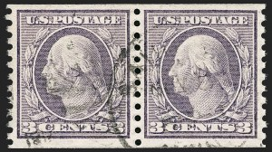 Sale Number 1174, Lot Number 195, 1912-15 Washington-Franklin Issue (Scott 405-461)3c Violet, Coil (456), 3c Violet, Coil (456)