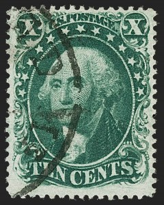 Sale Number 1174, Lot Number 27, 1857-60 Issue (Scott 18-39)10c Green, Ty. II (32), 10c Green, Ty. II (32)