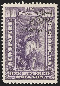 Sale Number 1174, Lot Number 314, Newspapers and Periodicals, Parcel Post$100.00 Purple, 1895 Watermarked Issue (PR125), $100.00 Purple, 1895 Watermarked Issue (PR125)