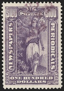 Sale Number 1174, Lot Number 315, Newspapers and Periodicals, Parcel Post$100.00 Purple, 1895 Watermarked Issue (PR125), $100.00 Purple, 1895 Watermarked Issue (PR125)