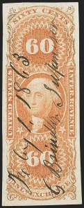 Sale Number 1174, Lot Number 334, Revenues, First Issue60c Inland Exchange, Imperforate (R64a), 60c Inland Exchange, Imperforate (R64a)