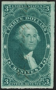 Sale Number 1174, Lot Number 341, Revenues, First Issue cont.$3.00 Manifest, Imperforate (R86a), $3.00 Manifest, Imperforate (R86a)