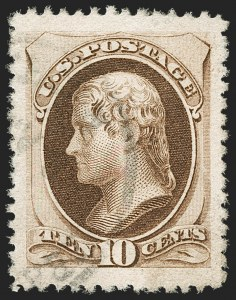 Sale Number 1174, Lot Number 62, 1870-88 Bank Note Issues (Scott 134-218)10c Brown, Without Secret Mark (187), 10c Brown, Without Secret Mark (187)