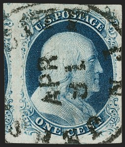 Sale Number 1174, Lot Number 7, 1851-56 Issue (Scott 5-17)1c Blue, Ty. III (8), 1c Blue, Ty. III (8)
