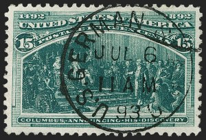 Sale Number 1174, Lot Number 80, 1c-50c 1893 Columbian Issue (Scott 230-240)15c Columbian (238), 15c Columbian (238)
