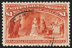 Sale Number 1174, Lot Number 87, $1.00-$5.00 1893 Columbian Issue (Scott 241-245)$1.00 Columbian (241), $1.00 Columbian (241)