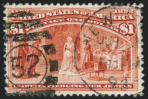 Sale Number 1174, Lot Number 93, $1.00-$5.00 1893 Columbian Issue (Scott 241-245)$1.00 Columbian (241), $1.00 Columbian (241)