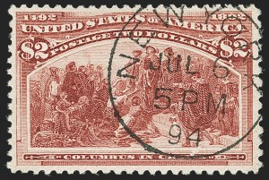 Sale Number 1174, Lot Number 96, $1.00-$5.00 1893 Columbian Issue (Scott 241-245)$2.00 Columbian (242), $2.00 Columbian (242)