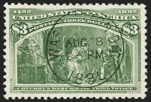 Sale Number 1174, Lot Number 97, $1.00-$5.00 1893 Columbian Issue (Scott 241-245)$3.00 Columbian (243), $3.00 Columbian (243)