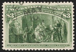 Sale Number 1174, Lot Number 98, $1.00-$5.00 1893 Columbian Issue (Scott 241-245)$3.00 Olive Green, Columbian (243a), $3.00 Olive Green, Columbian (243a)