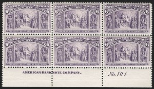 Sale Number 1175, Lot Number 533, 1893 Columbian Issue (Scott 230-245)6c Columbian (235), 6c Columbian (235)