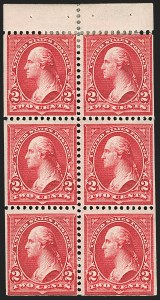 Sale Number 1175, Lot Number 569, 1895-98 Watermarked Bureau Issues (Scott 264-284)2c Red, Ty. IV, Booklet Pane of Six, Horizontal, Vertical Wmk. (279Bj, 279Bk), 2c Red, Ty. IV, Booklet Pane of Six, Horizontal, Vertical Wmk. (279Bj, 279Bk)