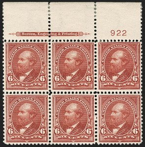 Sale Number 1175, Lot Number 572, 1895-98 Watermarked Bureau Issues (Scott 264-284)6c Lake (282), 6c Lake (282)