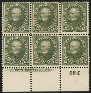 Sale Number 1175, Lot Number 574, 1895-98 Watermarked Bureau Issues (Scott 264-284)15c Olive Green (284), 15c Olive Green (284)