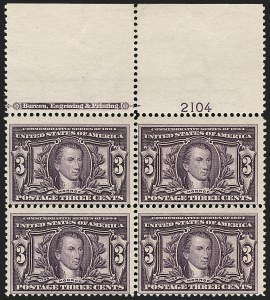 Sale Number 1175, Lot Number 609, 1904 Louisiana Purchase, 1907 Jamestown Issues (Scott 323-330)3c Louisiana Purchase (325), 3c Louisiana Purchase (325)