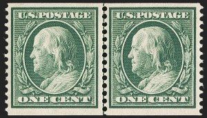 Sale Number 1175, Lot Number 643, 1910-13 Washington-Franklin Issue (Scott 374-396)1c Green, Coil (387), 1c Green, Coil (387)