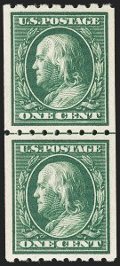 Sale Number 1175, Lot Number 645, 1910-13 Washington-Franklin Issue (Scott 374-396)1c Green, Coil (390), 1c Green, Coil (390)
