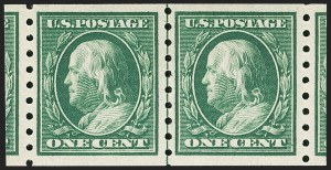 Sale Number 1175, Lot Number 647, 1910-13 Washington-Franklin Issue (Scott 374-396)1c Green, Coil (392), 1c Green, Coil (392)