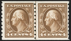 Sale Number 1175, Lot Number 649, 1910-13 Washington-Franklin Issue (Scott 374-396)4c Brown, Coil (395), 4c Brown, Coil (395)
