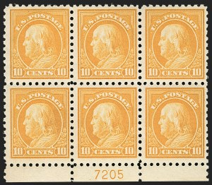 Sale Number 1175, Lot Number 679, 1913-15 Washington-Franklin Issues (Scott 424-461)10c Orange Yellow (433), 10c Orange Yellow (433)
