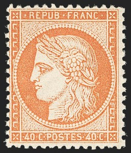 Sale Number 1177, Lot Number 1034, 1870-71 Bordeaux and 1870-75 Ceres Issues (Scott 40-63, Yvert 41B-57)FRANCE, 1870, 40c Orange on Yellowish, Type I (59; Yvert 38), FRANCE, 1870, 40c Orange on Yellowish, Type I (59; Yvert 38)