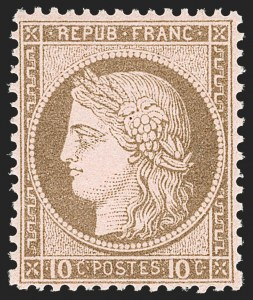 Sale Number 1177, Lot Number 1035, 1870-71 Bordeaux and 1870-75 Ceres Issues (Scott 40-63, Yvert 41B-57)FRANCE, 1875, 10c Bister on Rose (60; Yvert 54), FRANCE, 1875, 10c Bister on Rose (60; Yvert 54)