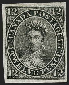 Sale Number 1178, Lot Number 1105, 1851 Pence Issue on Laid Paper (Scott 1-3)CANADA, 1851, 12p Black, Laid Paper (3; SG 4), CANADA, 1851, 12p Black, Laid Paper (3; SG 4)