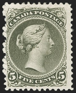 Sale Number 1178, Lot Number 1169, 1868-76 Large Queen Issue (Scott 21-33)CANADA, 1875, 5c Olive Green, Perf 11-1/2 x 12 (26; SG 63), CANADA, 1875, 5c Olive Green, Perf 11-1/2 x 12 (26; SG 63)
