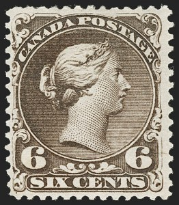 Sale Number 1178, Lot Number 1172, 1868-76 Large Queen Issue (Scott 21-33)CANADA, 1868, 6c Dark Brown (27; SG 59), CANADA, 1868, 6c Dark Brown (27; SG 59)