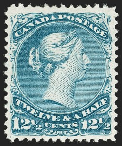 Sale Number 1178, Lot Number 1178, 1868-76 Large Queen Issue (Scott 21-33)CANADA, 1868, 12-1/2c Blue (28; SG 60), CANADA, 1868, 12-1/2c Blue (28; SG 60)