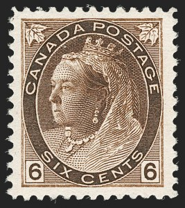 Sale Number 1178, Lot Number 1256, 1897-98 Maple Leaf and 1898-1902 Numeral Issues (Scott 72-88C)CANADA, 1898, 6c Brown (80), CANADA, 1898, 6c Brown (80)