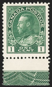 "Sale Number 1178, Lot Number 1270, 1911-25 King George V ""Admirals"" and Balance (Scott 104-140)CANADA, 1911, 1c Green, Type ""C"" Lathework (104), CANADA, 1911, 1c Green, Type ""C"" Lathework (104)"