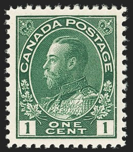 "Sale Number 1178, Lot Number 1271, 1911-25 King George V ""Admirals"" and Balance (Scott 104-140)CANADA, 1920, 1c Dark Yellow Green (Unitrade 104ii), CANADA, 1920, 1c Dark Yellow Green (Unitrade 104ii)"
