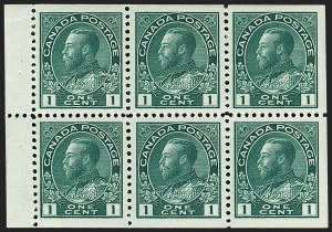 "Sale Number 1178, Lot Number 1273, 1911-25 King George V ""Admirals"" and Balance (Scott 104-140)CANADA, 1913, 1c Deep Blue Green, Booklet Pane of Six with Hairlines, Squat Printing (Unitrade 104aiii), CANADA, 1913, 1c Deep Blue Green, Booklet Pane of Six with Hairlines, Squat Printing (Unitrade 104aiii)"