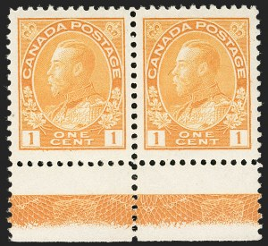 "Sale Number 1178, Lot Number 1274, 1911-25 King George V ""Admirals"" and Balance (Scott 104-140)CANADA, 1922, 1c Yellow, Wet Printing, Type ""D"" Lathework Inverted (105), CANADA, 1922, 1c Yellow, Wet Printing, Type ""D"" Lathework Inverted (105)"
