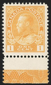 "Sale Number 1178, Lot Number 1275, 1911-25 King George V ""Admirals"" and Balance (Scott 104-140)CANADA, 1922, 1c Yellow, Dry Printing, Die I, Type ""D"" Lathework (105f), CANADA, 1922, 1c Yellow, Dry Printing, Die I, Type ""D"" Lathework (105f)"