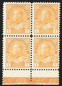 "Sale Number 1178, Lot Number 1276, 1911-25 King George V ""Admirals"" and Balance (Scott 104-140)CANADA, 1922, 1c Yellow, Dry Printing, Die I, Type ""D"" Lathework Inverted (105f), CANADA, 1922, 1c Yellow, Dry Printing, Die I, Type ""D"" Lathework Inverted (105f)"