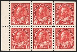 "Sale Number 1178, Lot Number 1279, 1911-25 King George V ""Admirals"" and Balance (Scott 104-140)CANADA, 1912, 2c Carmine, Booklet Pane of Six, Squat Printing (106aiii), CANADA, 1912, 2c Carmine, Booklet Pane of Six, Squat Printing (106aiii)"